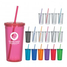 16 Oz Double Wall Acrylic Tumbler With Straw