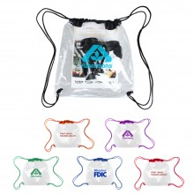 Clear Vinly NFL Stadium Compliant Cinch Bag With Drawstring